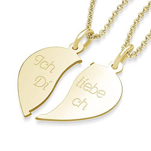 Partnerketten Gold Liebesketten Freundschaftsketten vergoldet Gravur Herzkette für Paare zwei Teile Love Kette teilbar halb Hälfte trennbare zerbrochen zweiteilig doppelt zum Teilen FF79VGGG45