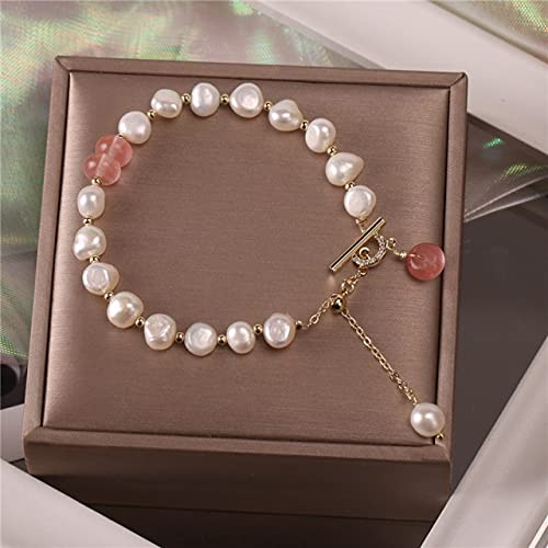 XIAOMAI Pulsera clásica con Colgante de Perlas de Piedra Natural a la Moda para Mujer, ExquisitaPulsera de la Suerte, joyería de Lujo