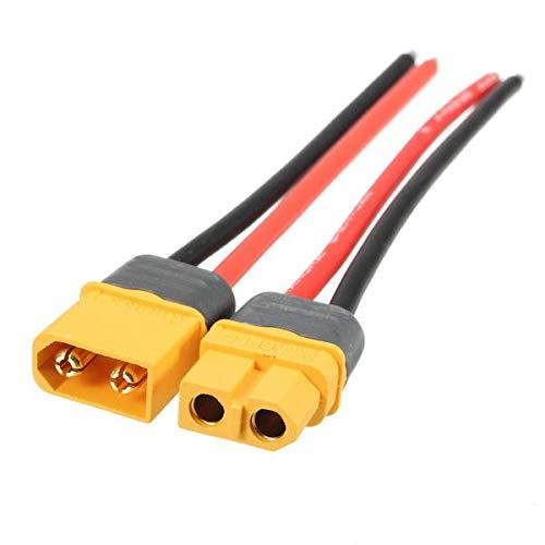 MITUHAKI XT60 Stecker-Buchse-Stromkabel, 14 AWG, 10 cm – 1 x XT60 männliche weibliche Stromkabel – RC Spielzeug & Hobby Anschluss & Kabel & Draht