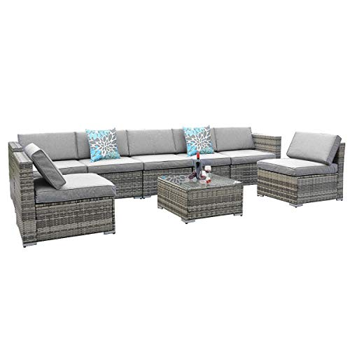YITA HOME 8 Piece Outdoor Patio Furniture Sets, Garden Conversation Wicker Sofa Set, and Patio Sectional Furniture Sofa Set with Coffee Table and Cushion for Lawn, Backyard, and Poolside