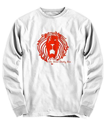 Yinz Hombre Long Sleeve Shirt 7 Deadly Sins Lion Impresión del patrón Blanco Medium