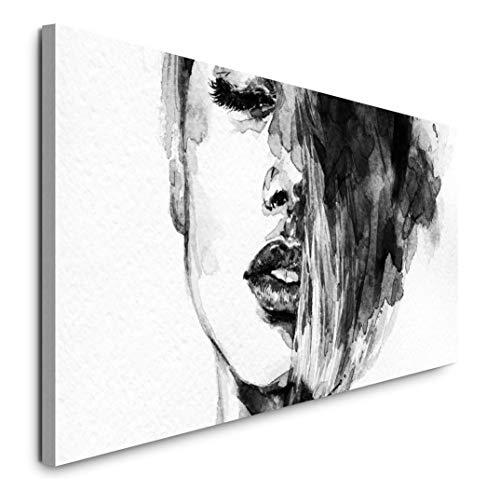 Paul Sinus Art GmbH Frauen Gesicht 120x 50cm Panorama Leinwand Bild XXL Format Wandbilder Wohnzimmer Wohnung Deko Kunstdrucke