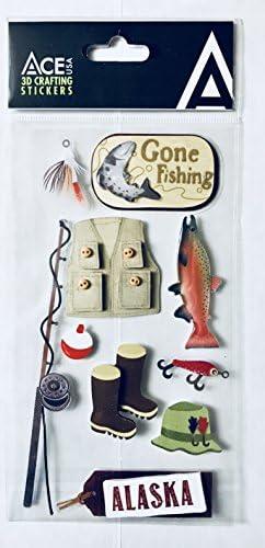 ACE USA Alaska Scrapbooking Craft Stickers 3 D Gone Fishing Set 10Pc product image