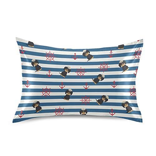HaJie Funda de almohada de satén con diseño de rayas de timón, diseño de animales, 100% poliéster, para cabello y piel, tamaño estándar 50,8 x 66 cm, 1 unidad