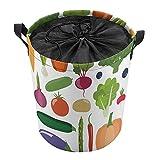 Cesta de lavandería con asa superior, cesta de almacenamiento para ropa sucia, manta de sala de estar, almacenamiento de juguetes, 35 x 44 cm, frutas y verduras