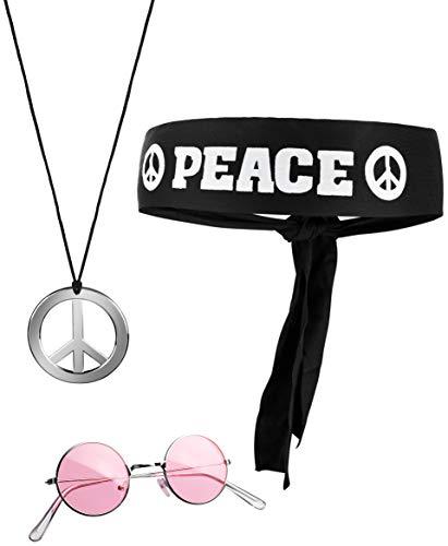 Balinco 3-teilliges Hippie Set mit Stirnband Peace Zeichen Kette und runder Nickel Sonnenbrille