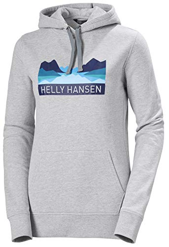 Helly Hansen W Nord Graphic Pull Over Hoodi Suéter con Capucha, Mujer, Grey Melange, M
