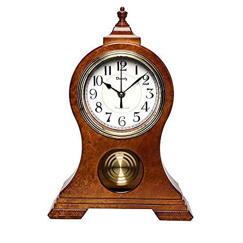AMYZ Reloj de repisa,Moderno y silencioso Reloj de repisa,Reloj de Mesa con péndulo,Relojes de Mesa para decoración de Sala de Estar,Escritorio,Reloj de Escritorio 🔥
