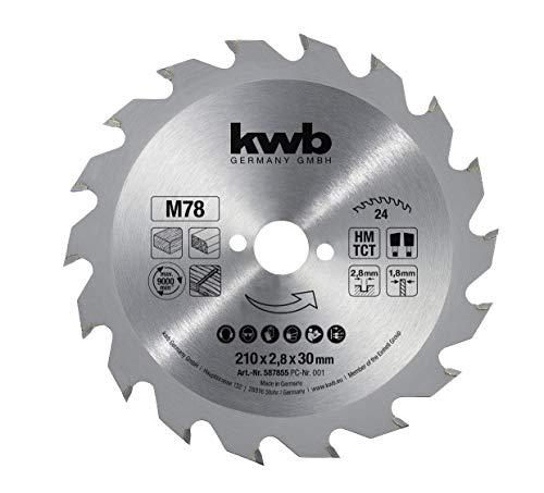 KWB 587855 Profi-Spanplatten Kreissäge-Blatt, Holz-/Hartholz-Sägeblatt, 210 x 30 mm, saubere Schnitte, mittlere Zahl, 30 Zähne Z-30, Made in Germany