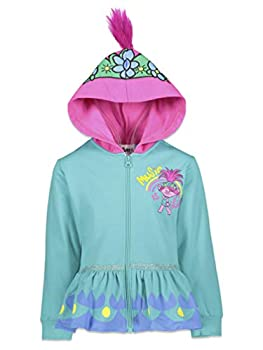 DreamWorks Poppy Trolls Toddler Girls Fleece Zip-Up Hoodie 2T Light Blue