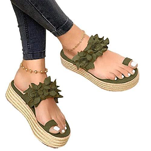 Window-pick Women Flower Slip-On Platform Sandals, Bunion Sandals Orthopedic Wedge Flip Flops Daily Slippers Lady's Summer Beach Casual Shoes Toe Ring Comfort Non-Slip Best-Walking Sandals