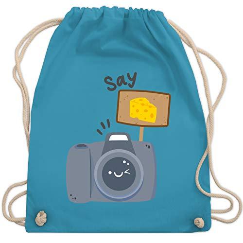 Shirtracer Fotografen - Kamera Say Cheese - Unisize - Hellblau - turnbeutel kamera - WM110 - Turnbeutel und Stoffbeutel aus Baumwolle