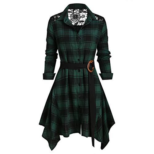 FRAUIT Damen Gothic Plaid Langarmshirt T-Shirt V-Ausschnitt Skew Neck Geraffte Lace Up Tunika Riemchen Asymmetrische Pullover Kleidung Bluse Tops S-2XL (SA-Grün, L)