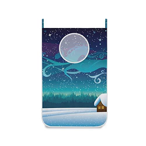XiangHeFu mand voor aan de deur hangen, grote wasmand, opslag van stof, tas, sneeuwvlok, boom, sterrennacht paard opvouwbaar