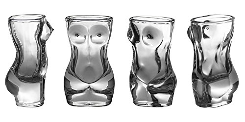 Shot Glass Set (4-Piece Set) Sexy Women Shaped Custom Design | Bachelor or Bachelorette Party Drinks | Tequila, Vodka, Whiskey, Bourbon | Funny, Durable Style