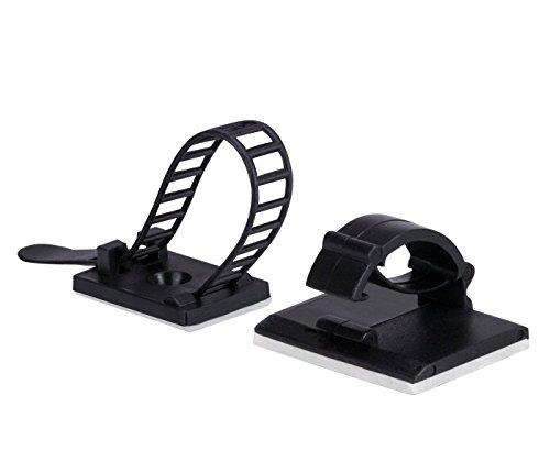 【50個入り 】AGPTEK ケーブルクランプ lanケーブル 固定 配線止め ケーブルタイクリップ ケーブルホルダー 粘着シート付 ブラック