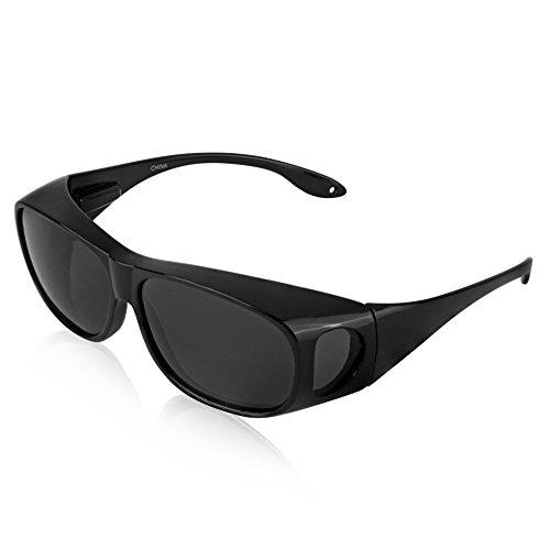 Plastic Fit over Sunglasses For Women And Man Polarized Sunglasses UV 400 Black
