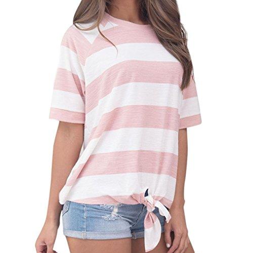 VEMOW Damen Mädchen Frauen Sommer Casual Täglichen Sport Streifen Druck Knoten T-Shirt Kurzarm Tops Bluse Pulli Tees(Rosa, 40 DE/S CN