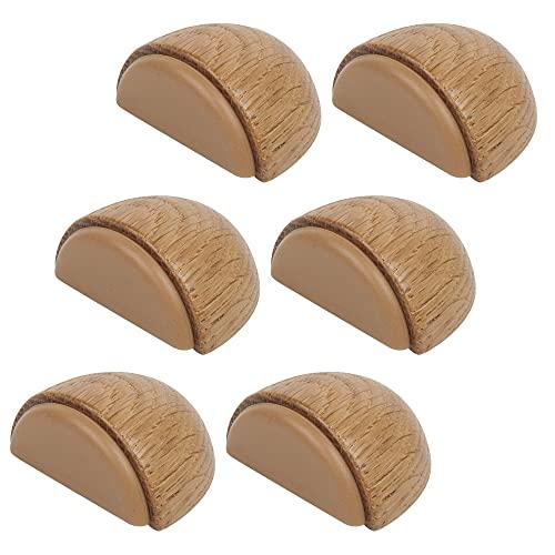 Topes para Puertas - Tope Puerta Adhesivo de Madera para Suelo (Roble Natural) – Autoadhesivo para Suelos Madera - Pack 6 unidades (Roble)