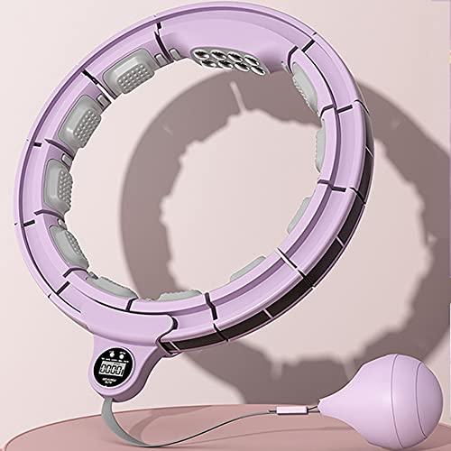 Hula hoop deportivo inteligente, tamaño ajustable, masaje, abdomen, aro de fitness ponderado con temporizador, adecuado para adolescentes adultos y principiantes/púrpura/L