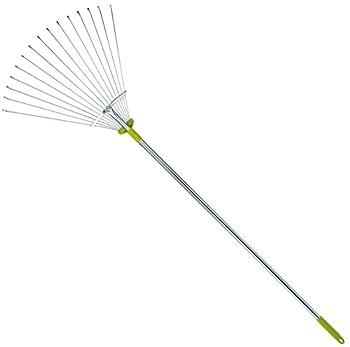 63 Inch Adjustable Garden Leaf Rake - Expanding Metal Rake - Adjustable Folding Head from 7 Inch to 22 Inch Ideal Camp Rake