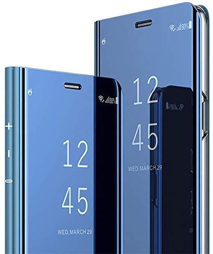 Überzug Spiegel Hülle für Huawei P20 Pro,Mirror PU Leder Tache Brieftasche Schutzhülle Durchsichtig Clear View Handyhülle Ledertasche Flip Wallet Cover Standfunktion Case für Huawei P20 Pro Blau