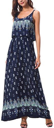 Kormei Damen Sommerkleid Ärmellos Boho A-Line Lang Kleid Maxikleid Party Strandkleid Blau#5 M
