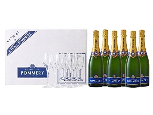 Pommery Champagner Royal Brut + 6 Gläser 12,5% 6-0,75l Flasche
