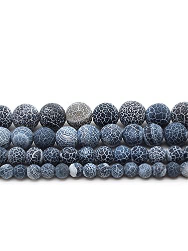 Cuentas de ágata de piedra natural negro desgastado redondo bola suelta 4/6/8/10/12 mm artesanía joyería hacer bricolaje pulsera collar 15 pulgadas negro 12 mm aproximadamente 30 cuentas
