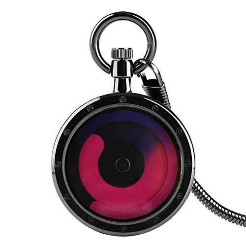 FHLKP Kreative kleine Digitale lila Plattenspieler Quarz Taschenuhr Silber Schlangenkette Minimalismus Muster Uhr