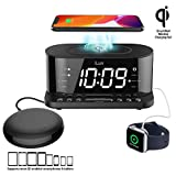 iLuv Time Shaker 5Q Wow Qi-Certified Wireless Charging Alarm Clock with Vibration Shaker, Jumbo LCD White Display, Dual Alarm, FM Radio, Sleep Timer, 3-Level Dimmer, USB Charging Port, Battery Backup