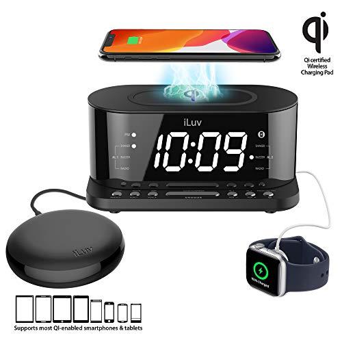 iLuv TimeShaker 5Q Wow Wireless Charging Alarm Clock with Qi Certified, 1.2' Jumbo LED Dual Alarm Clock, FM Radio Alarm Clock, USB Charging Alarm Clock, Compatible iPhone & Samsung Phones