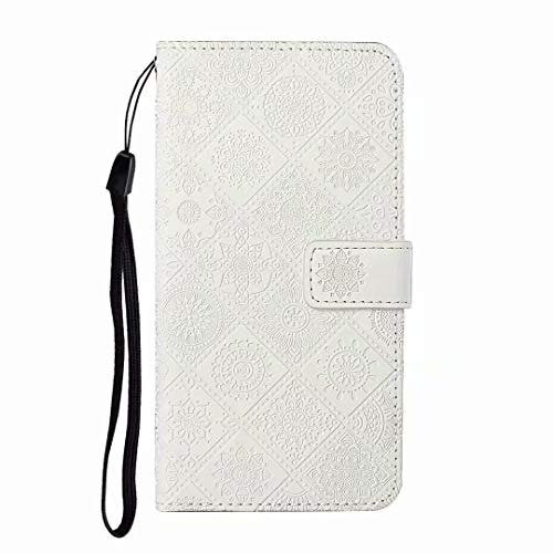 Ufgoszvp iPhone 11 Case, Shockproof Premium PU Leather Flip Wallet Phone Case Emboss Totem TPU Bumper Protective Cover with Card Holders Magnetic Closure Kickstand for iPhone 11 white
