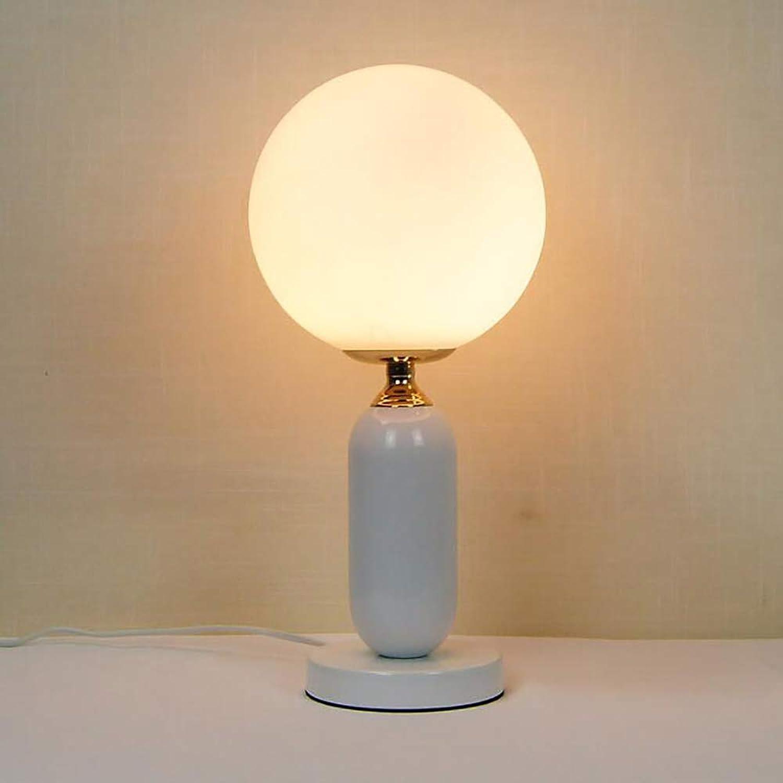 Einfache Moderne Schlafzimmer Nachtseite Studie Glastisch Lampe, nordische warme kreative Dekoration Wohnzimmer-Kugel-Lampe,Weiß