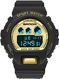 ACONAG Reloj Deportivo Hombres Moda Casual Despertador Reloj Impermeable Militar crono Doble Pantalla Reloj de Pulsera para niña (Color : BlackGold)