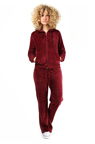 Womens Velour Full Tracksuit Hoodie And Jogging Pants Ladies Drawstring Zipper Joggers Sport Gym Normal And Plus Sizes 2 Piece Set Medium Wine