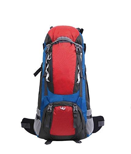 Yy.f Sac à Dos D'alpinisme En Plein Air Nylon Imperméable Sac à Dos Voyage Sacs D'alpinisme Cadre En Aluminium 65L Sacs à Dos Sac à Dos Multi-fonctionnel. Multicolore,Red-37 * 25 * 78cm
