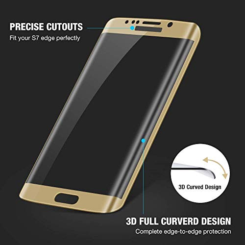 Market Affairs Full Screen Coverage Tempered Glass for Samsung Galaxy S7 Edge (Gold)