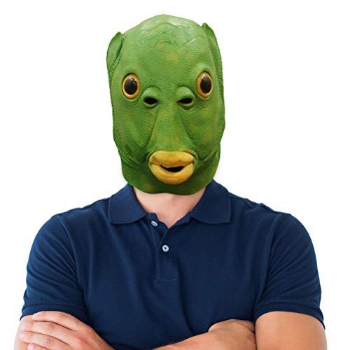 zuoshini Grüne Fisch Kopfbedeckung Grüner Mund Fisch Latex Maske Unisex Erwachsene Latex Vollgesichts Abdeckung Lustige Cosplay Kostüm für Weihnachten Neujahr Geburtstag Karneval Party Film Prop