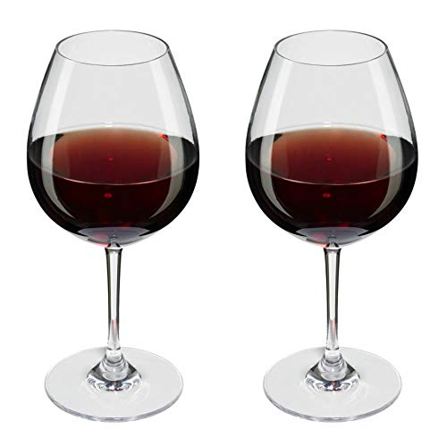 Viva Haushaltswaren #27035#  2 x bruchfestes Rotweinglas 250 ml aus hochwertigem Kunststoff, edles Weingläser Set für Outdoor-Aktivitäten etc. (wie echtes Glas)