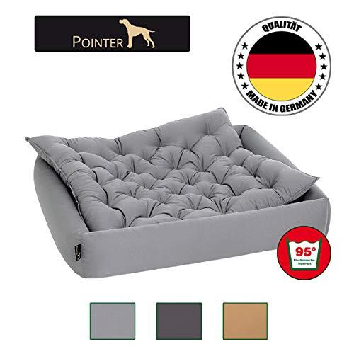 Pointer Set - Hondenbed met hondenkussen, orthopedisch, zachte rand, vormvast, krasbestendig, eenvoudig te reinigen, geschikt voor de droger - wasbaar op 95 °C - Premium kwaliteit - maat, kleur naar keuze, XX-Large, lichtgrijs