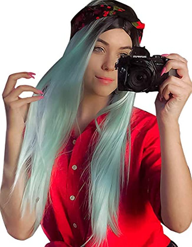 K'ryssma Ombre Mint Green Synthetic Wigs Long Straight Full Machine Made Wig 22 Inch