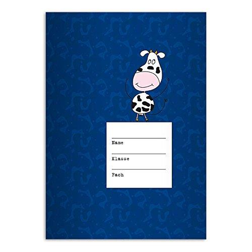 Kartenkaufrausch 4 lustige DIN A5 Grundschul Hefte mit Tanzender Kuh, blau Kontrastlineatur 2