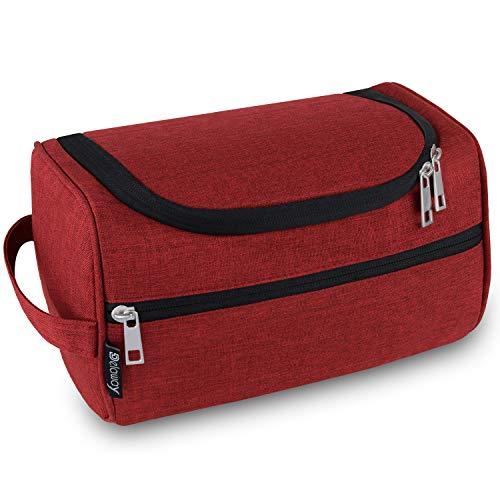 DELAWAY® Kulturbeutel Herren und Damen zum Aufhängen - Waschtasche Männer und Frauen mit Kofferhalterung (Rot)