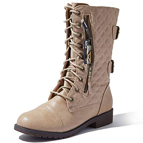 DailyShoes Women's Quilted Ankle Mid Calf Low Heel Lace Up Zip Pocket Boots