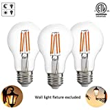 Dusk to Dawn Outdoor LED Lights Bulb ETL Listed Photocell Light Sensor Auto Turn On/Off, 60W Incandescent Edison Replacement E26 8W Warm White(2700K),AC120V,for Wall Lantern Light Fixture (Pack of 3)