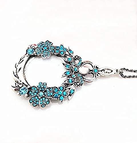 Crown Vintage Clover Transport 5 X Die Lupe Halskette Anhänger Halskette geschnitzt mit Langen Bohrerblättern, Lupe, Identifikationsablesung, Halskette, Pullover Kette