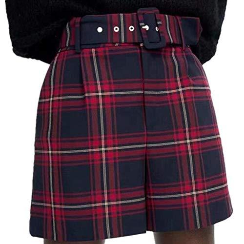 HNOSD 2019 Mujeres de Invierno Pantalones Cortos de Cuadros Rojos Pantalones Cortos de Cintura Alta con Cintura Alta Estilo inglés con cinturón