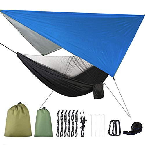 YO-HAPPY Camping Mosquito Net Hammock Tent With Waterproof Canopy Awning Netting Set