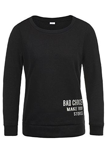 ONLY Luisa Damen Sweatshirt Pullover Sweater Mit Rundhalsausschnitt Und Fleece-Innenseite, Größe:M, Farbe:Black
